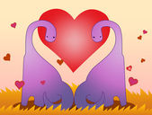 Dinosaur lover valentine greeting — Stock Vector