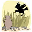 Black crow and a jug Aesops Fables vector — Stock Vector