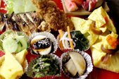 Colorful japanese food set. beautifully decorate cuisine — Stock Photo
