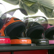 Stock Photo: Colorful bike helmets