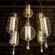 Brass classic chandelier, spa oriental lighting — Stock Photo