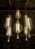 Brass classic chandelier, spa oriental lighting — Stock Photo
