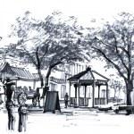 USA old town, savannah Georgia city market drawing — Stock Photo