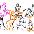 Sketch illustration of nude, naked girls — Stock Photo