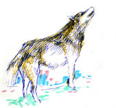 Wolf color drawing — Stockfoto