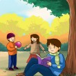 Kids children playing in the autumn park — Stock Photo