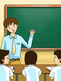 Teacher teaching kids with blackboard — Zdjęcie stockowe