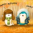 Penguin and seal in autumn leaves cartoon illustration — Stock Photo