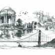 San Francisco travel landmark drawing — Stock Photo