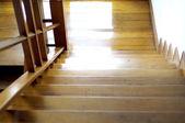 Shiny wood stair — Stock Photo