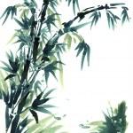 Chinese brush painting bamboo. — Stock Photo