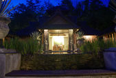 Sala,spa pavilion resort at night lighting — Stock Photo