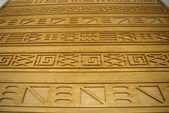 Geometric crafted wood, inspried by egypthian pattern — Stock Photo