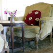Stock Photo: Velvet armchair in the coffee shop