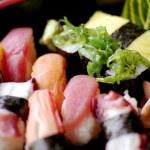 Sushi set on black background — Stock Photo