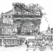 New Orleans architectural illustration drawing — Stock Photo