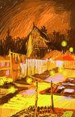 Laos, Luang Prabang, temple and marketing at night painting — Stock Photo