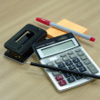 Office startoionaries, Paper Punch, pencil, post it, red pen and — Stock Photo