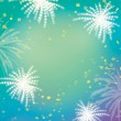 Firework celebration green purple background — Stock Photo