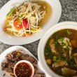 Thai spicy food set, mushroom soup, papaya salad and bbq pork — Stock Photo #38607255