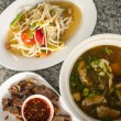Thai spicy food set, mushroom soup, papaya salad and bbq pork — Stock Photo