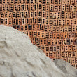 Construction brick and sand texture — Stock Photo
