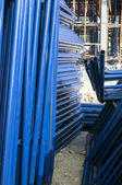 Blue metal pipe for construction — Stock Photo