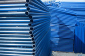 Blue metal pipe for construction — Foto de Stock