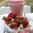 Stock Photo: Strawberry and smoothies
