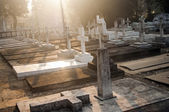 Cemetery graveyard in the morning — Stock fotografie