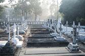 Hřbitov hřbitov v noci — Stock fotografie