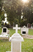 Cemetery graveyard in the morning — Stock Photo
