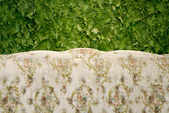 Classic sofa with green fern background — Stock Photo