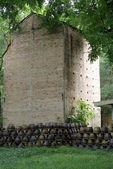 Beautiful brick chamber and high tree — Stock Photo