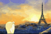 Paris, eiffel tower illustration — Stock Photo