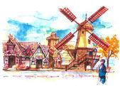 Danish town in Solvang, USA illustration — Zdjęcie stockowe