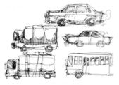 Cars and vehicle drawing illustration — Stock Photo