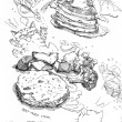 Pancake and syrup and steak with vegetable drawing — Stock Photo #42973999