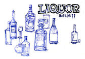 Liquor bottles illustration — Stock Photo