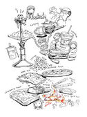 Food and drinks illustration — Stock Photo