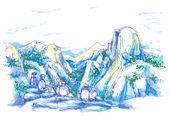 The Dome, Yosemite California National Park illustration — Stock Photo