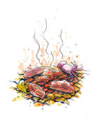 Charcoal barbeque illustration — Stock Photo
