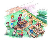 Barbecue party at the yard illustration — Stock Photo