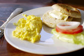 Breakfast, scramble egg cream cheese bagel  — Stock Photo