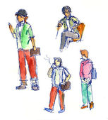 People in action sketch — Stock Photo