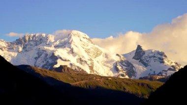 Switzerland snow mountain at sunset — Stock Video