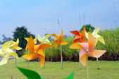 Colourful windmill pinwheel — Stock Photo
