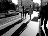 Abstract people walking in the city — Stock Photo
