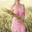 Young woman in a corn field — Stok fotoğraf