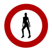 Traffic sign with woman — Foto de Stock